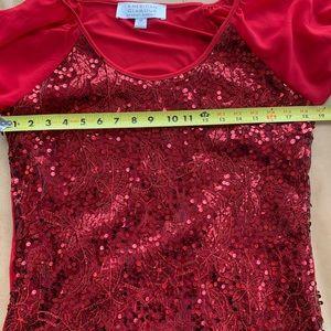 Badgley Mischka Tops - Badgley Mischka American Glamour red sequin top M